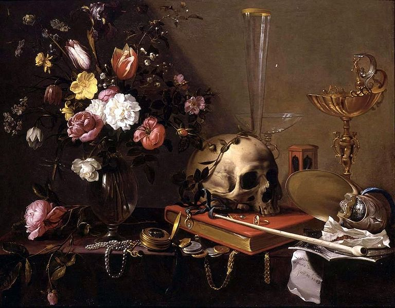 Vanitas -  Still Life with Bouquet and Skulls. Adriaen van Utrecht.