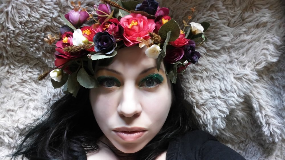 Lea wearing Mookychick's May Day Crown giveaway wreath to launch May Day Magic in 2017