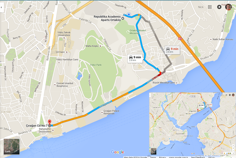 The grey route is used for the commute to school.