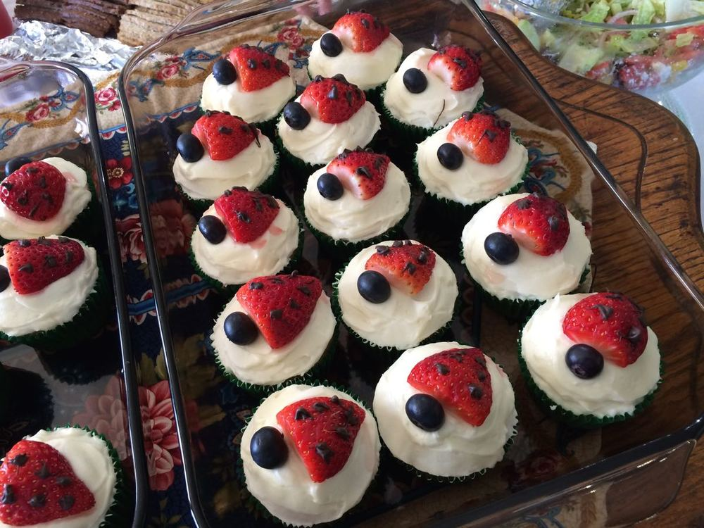 strawberry ladybug cupcake toppers