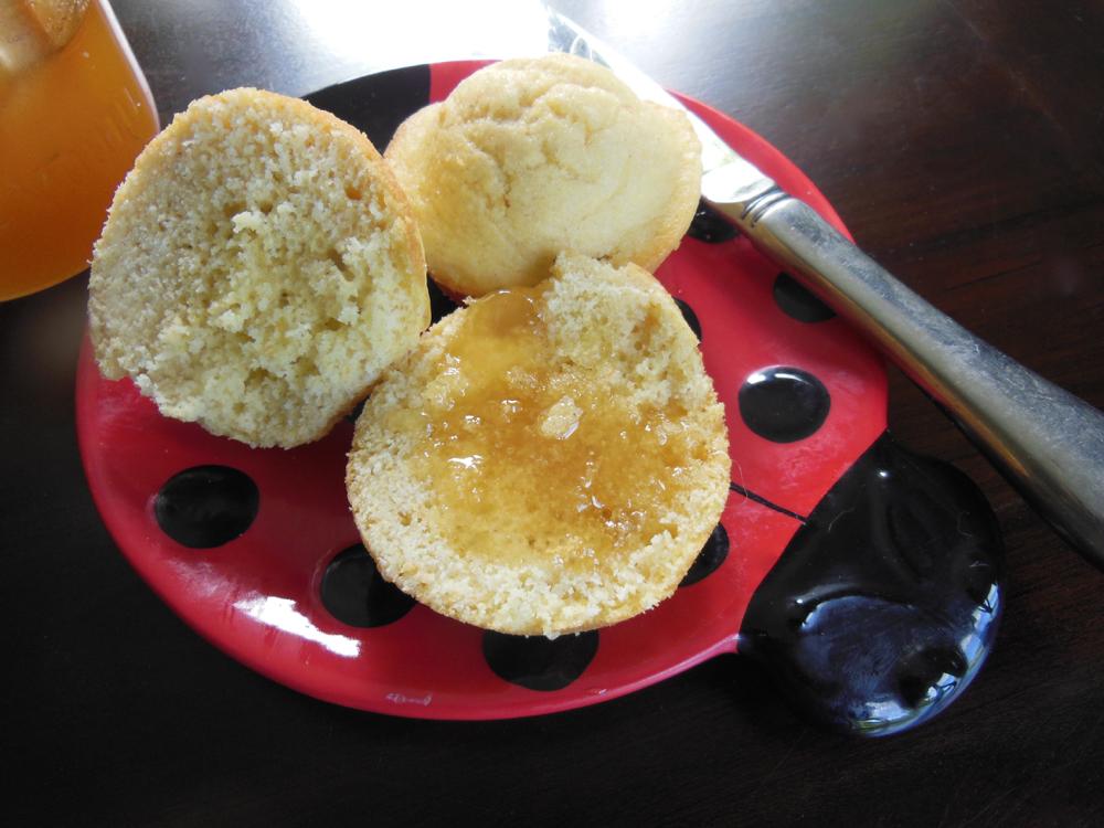 Bluebird Gardens honey on freshly-baked corn bread - yumm!
