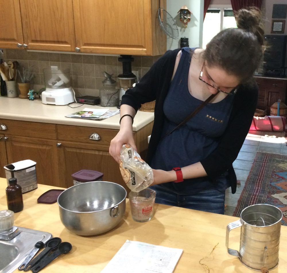 My niece Rachel refreshing her ice cream-making skills whipping up a chocolate ice cream batch.