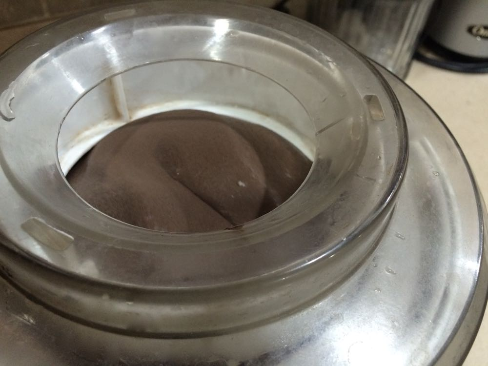 Chocolate ice cream is ready when it starts shaping into mounds.