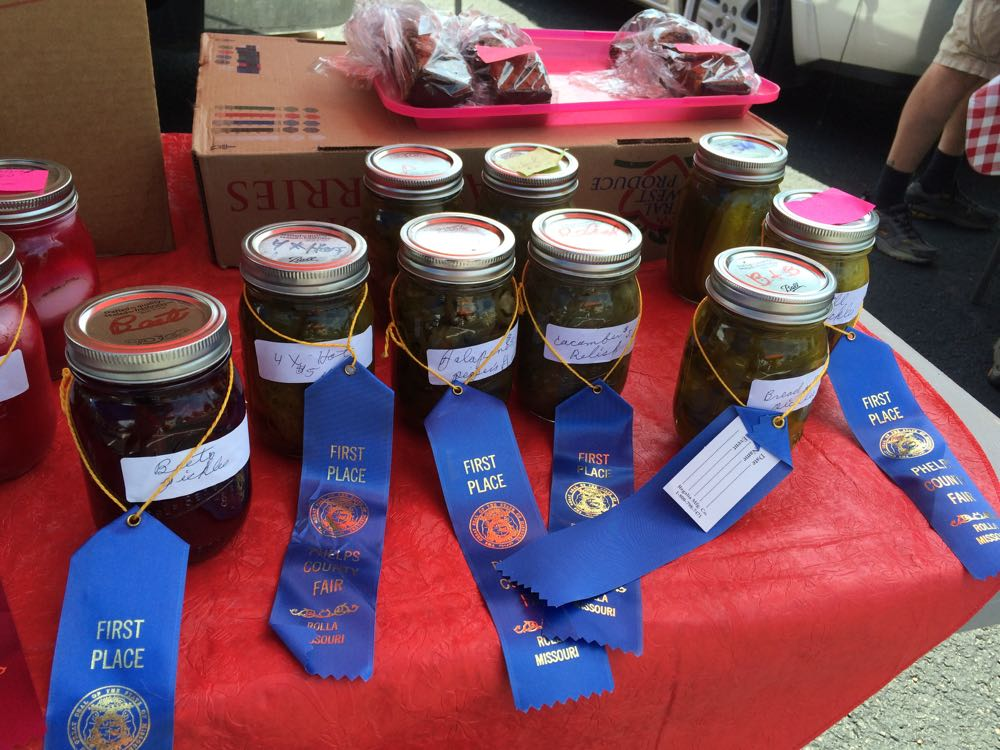 Some of the award-winning canned fare Laura won at the 2016 Phelps County Fair.