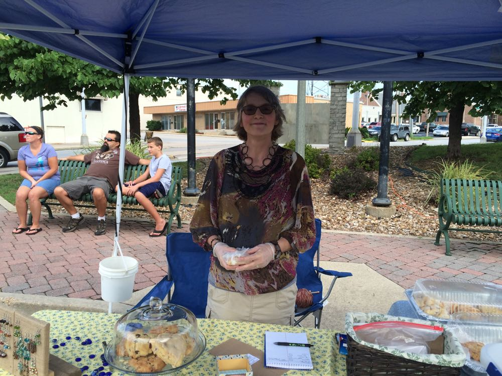 Jane from baked blessings by Jane at the august 13, 2016 rolla farmer's market. see those handmade scones under glass? One less there now :)