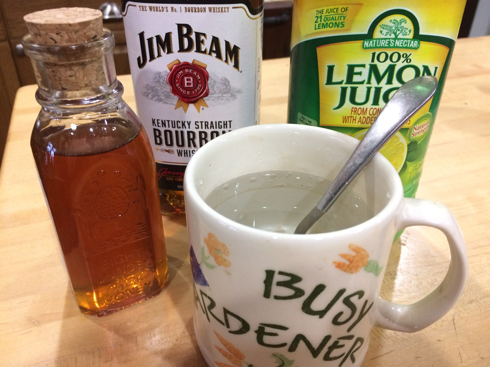 Basic hot toddy ingredients including honey from my bee hives.