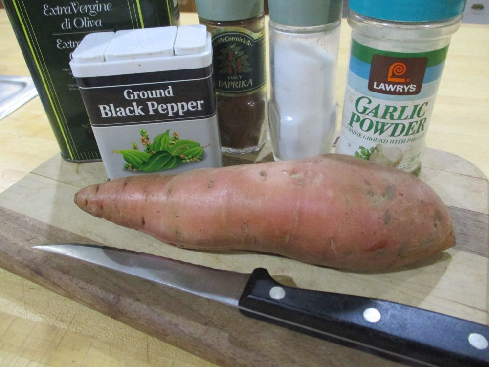 Select relatively straight sweet potatoes to preserve your fingers when cutting into strips.