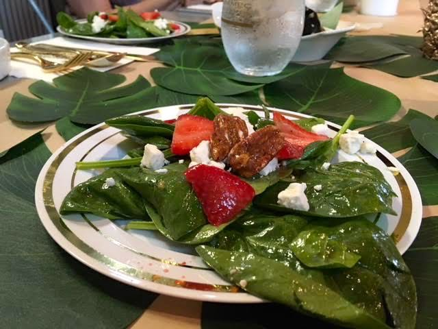 Caramelized pecans topped the spinach and strawberry salad, so light and refreshing.