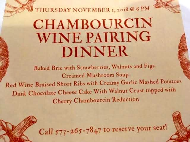 The menu for the Meramec Vineyards Chambourcin Nov. 1, 2018 wine pairing dinner. (Photo by Charlotte Ekker Wiggins)
