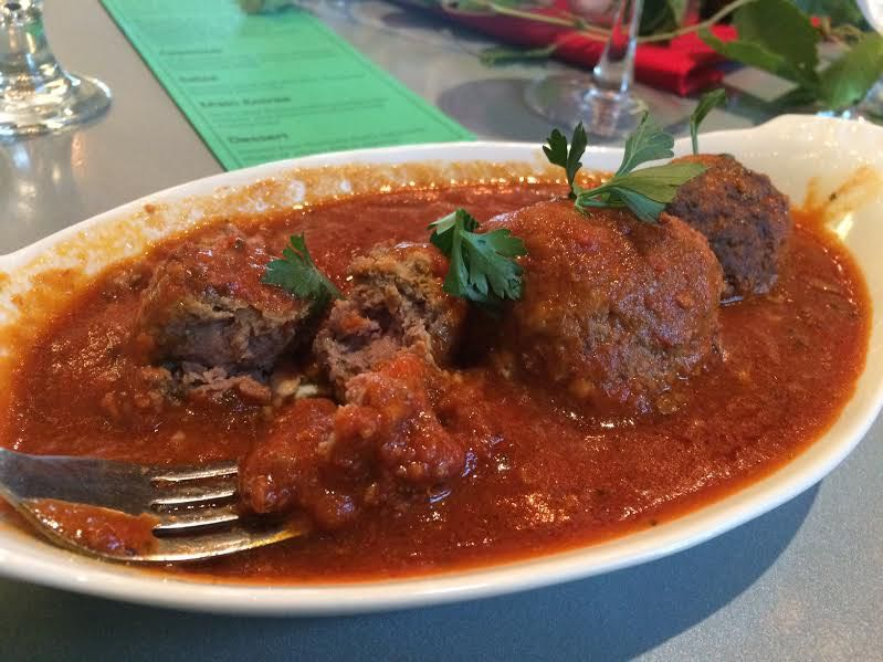 Homemade meat balls in Silvio's Red wine sauce from Wildcat Creek meats. (Photo by Charlotte Ekker Wiggins)