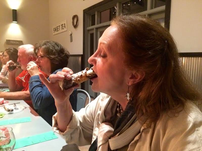 The trick to eating a cannoli is trying to keep the cream in the middle, (Photo by David Draker)