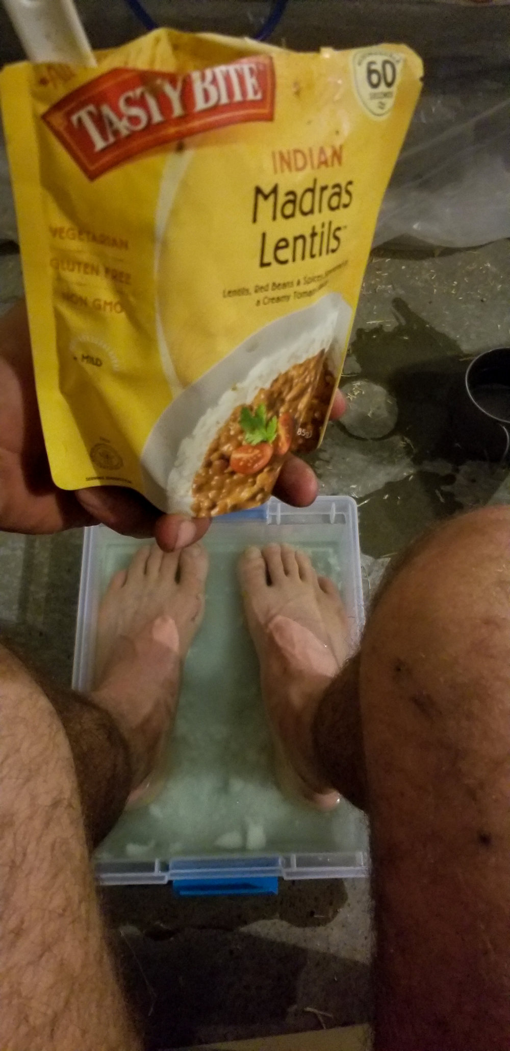 Tasty bite and instant Epsom Salt/Baking Soda/Listerine foot refreshing treatment for filthy feet. Perfection Achieved!