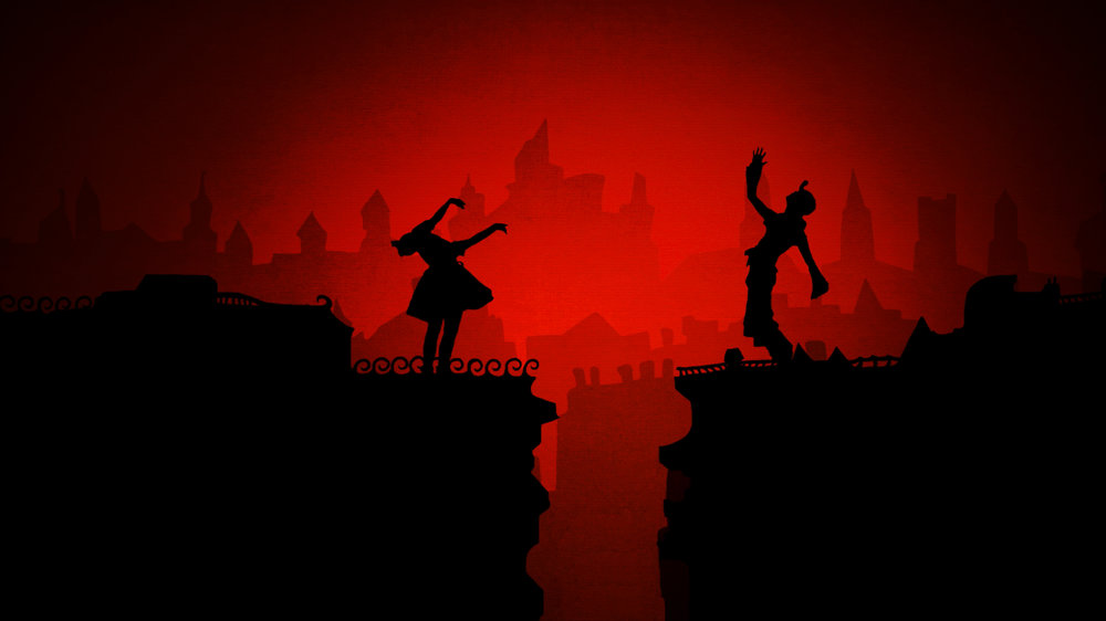GHOSTS OF BERLIN. Image credit: Trick Studio Silhouette dancers Erica Hanrahan-Ball and Andrew Diego sing as Berlin crumbles in the background.