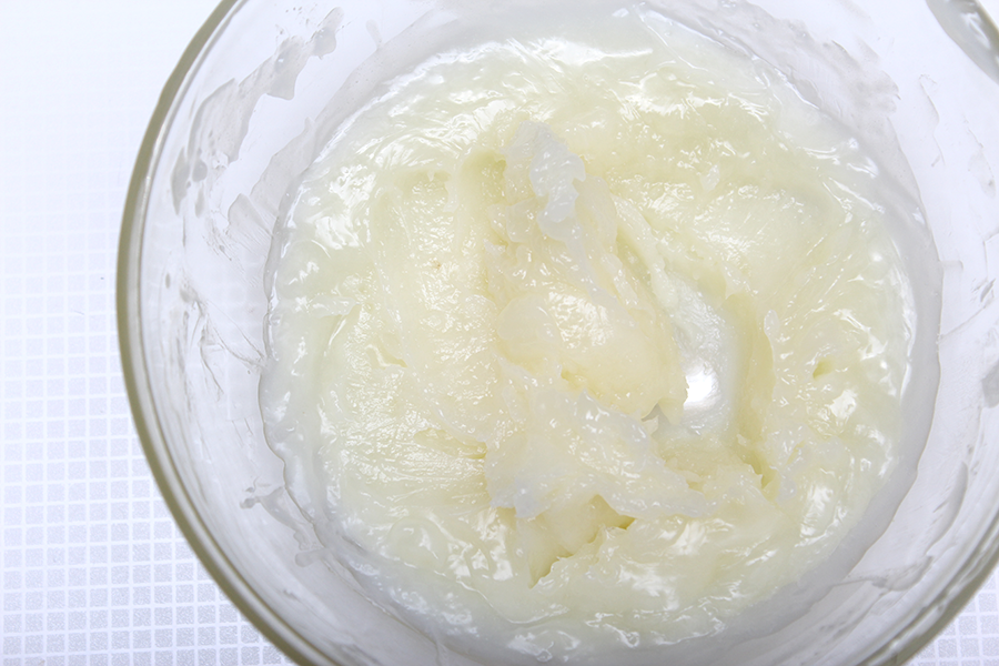 partially solidified melted shea butter and coconut oil
