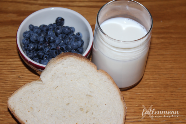 blueberries milk bread