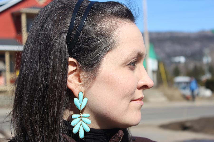 closeup of turquoise earrings