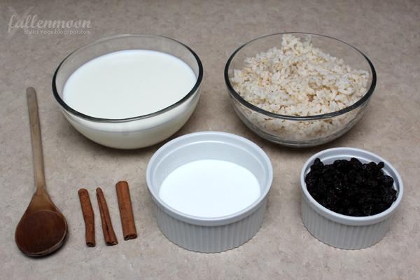 rice milk sugar cinnamon fruit