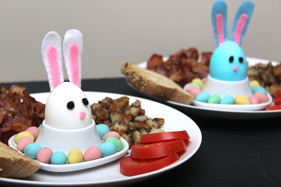 decorated easter breakfast with bunny hard boiled eggs