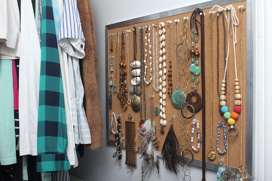 diy jewelry organization display board
