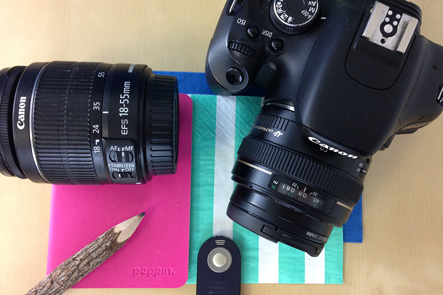 Photography kit for bloggers, 18-55mm lens, canon rebel t3i, notebook and remote. Click through to read!