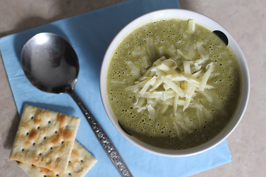 Spinach soup with cheese.