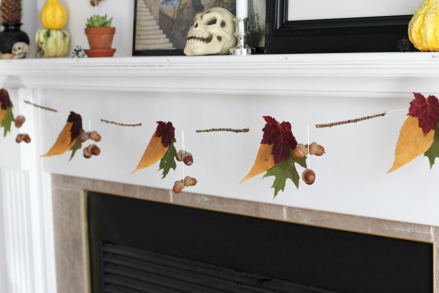 Pretty fall garland made out of leaves and acorns.