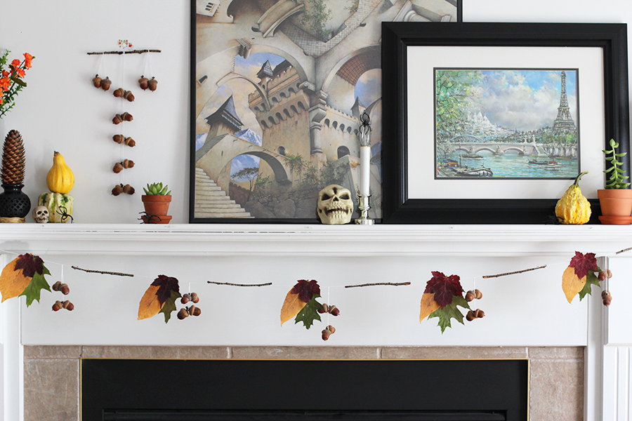 Fall garland on mantle.