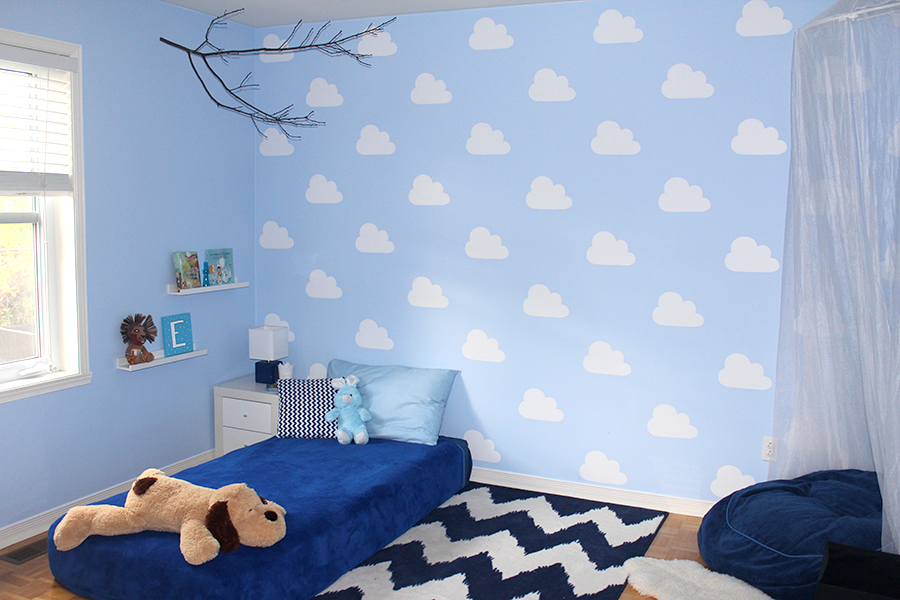 Make your own cloud wall with a DIY stencil.
