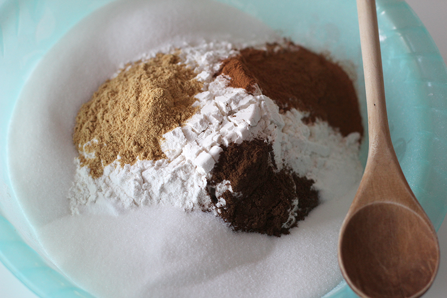Mix all the dry ingredients together to make gingerbread cookies.