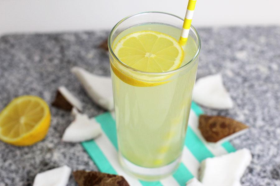 Refreshing summer drink sweet coconut lemonade.