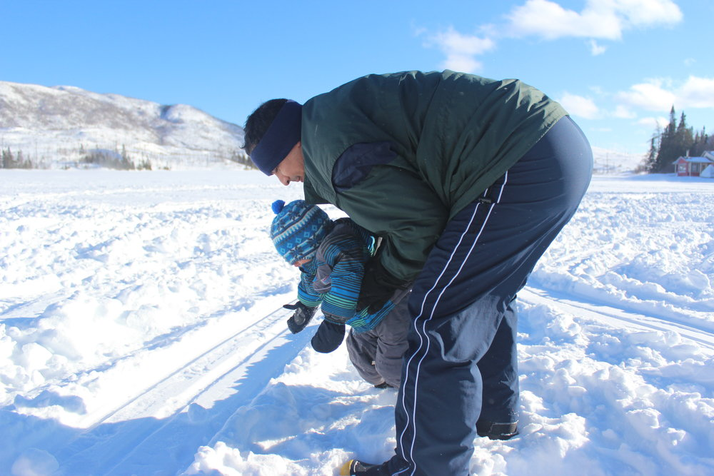 daddy with his boy on frozen lake.JPG
