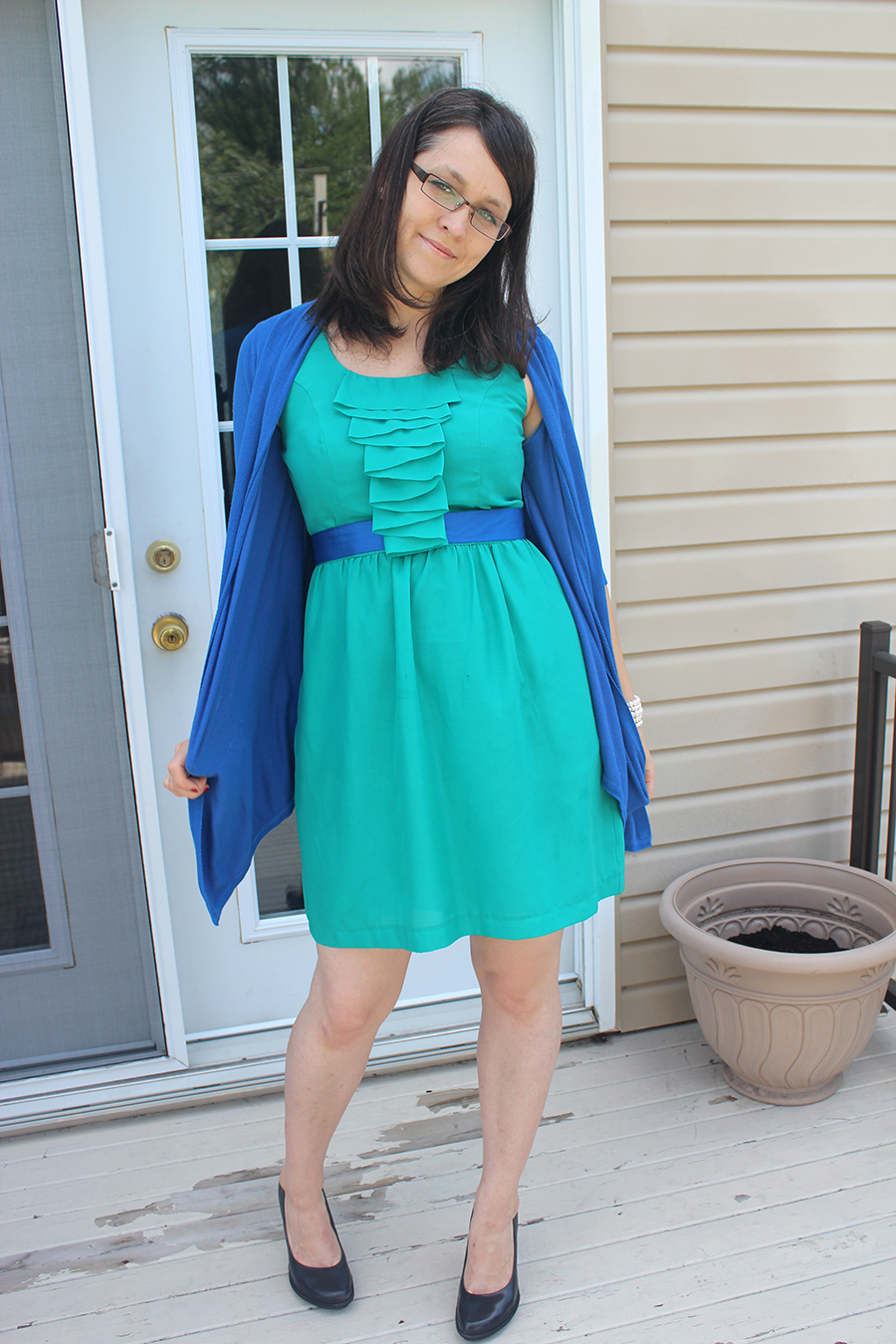 emerald green and royal blue dress and cardigan.png