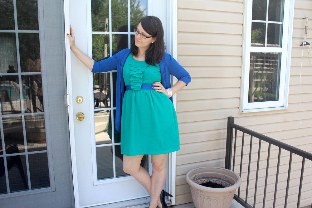 emerald green and blue dress outfit cross legs.jpg
