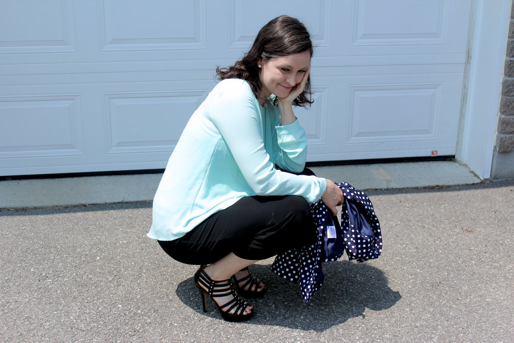 turquoise blouse navy blue polka dot jacket black pants.jpg
