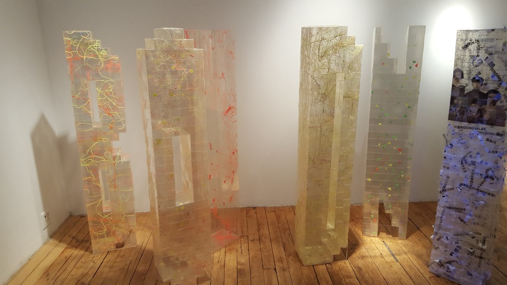 Eunsook Lee's work in the exhibition  Spatial Visions , Art Mora Gallery, Chelsea, NYC.