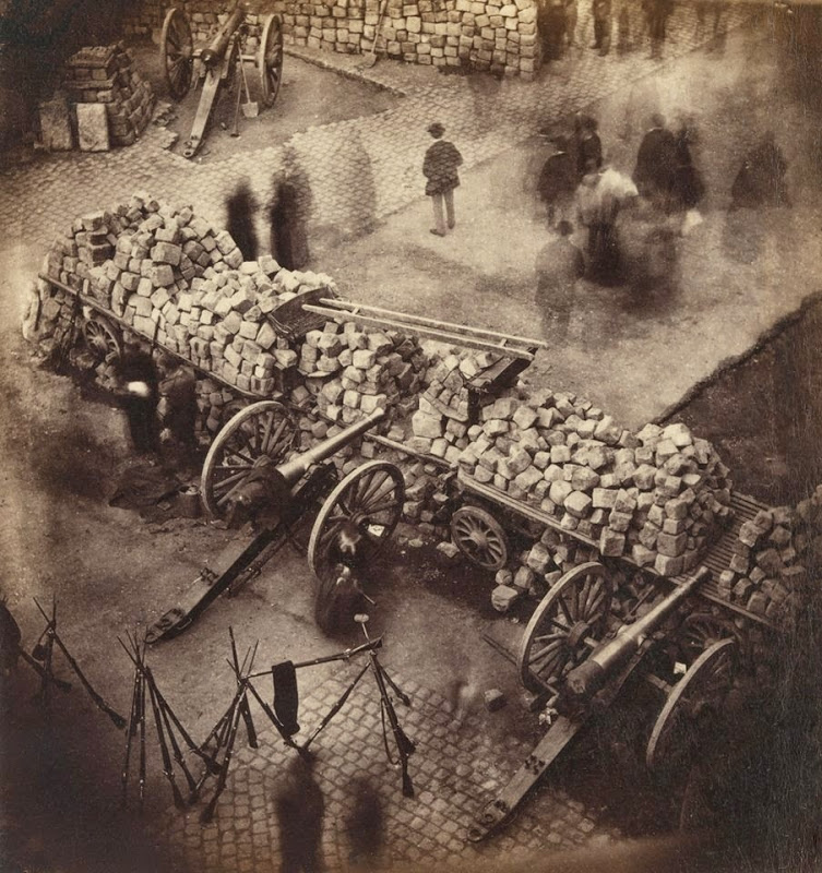 Pierre-Ambroise Richebourg.  Barricades of the Paris Commune Near Hôtel de Ville and the Rue de Rivoli.  April 1871, Paris