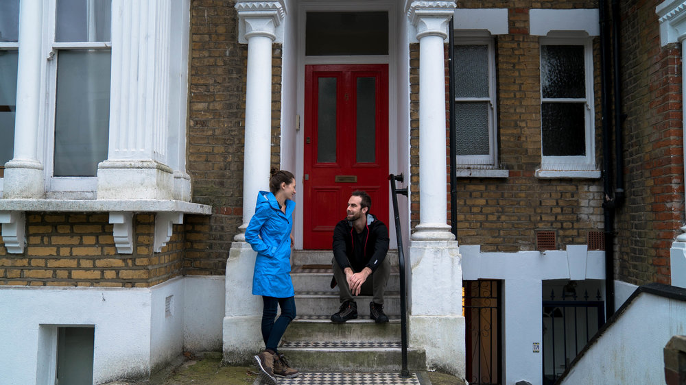 Us in front of our AirBnB in London. Next stop: Paris!
