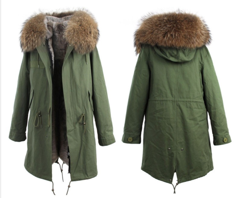 3/4 Length Faux Fur Lined Khaki Parka with oversized Real Fur ...