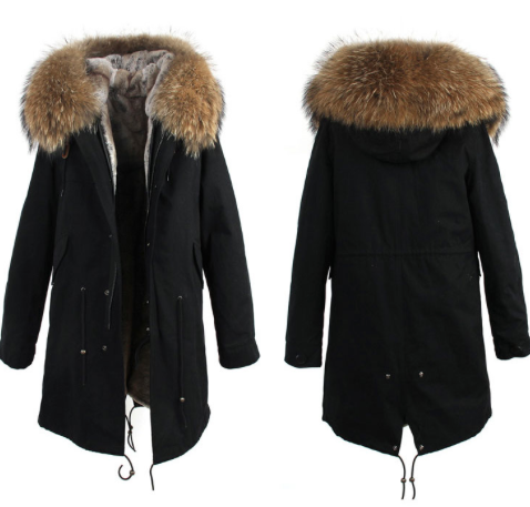 3/4 Length Faux fur lined Black Parka with oversized Real Fur ...
