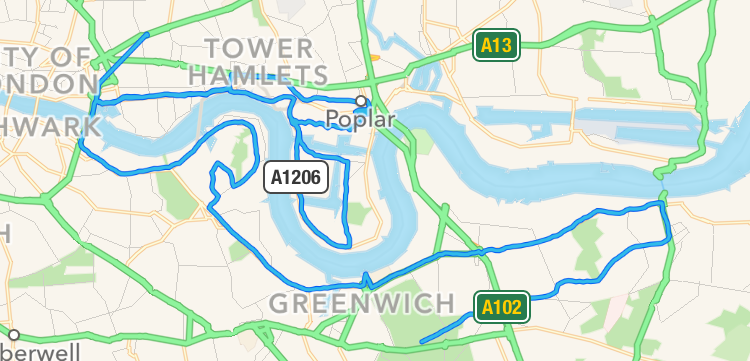 Note the beeline to The Royal London - I think Strava count this as cheating.