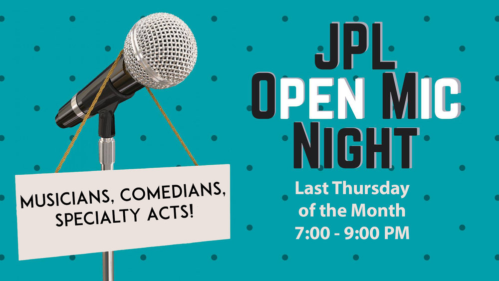 JPL OPEN MIC NIGHTS! - From the Johnson Public Library auditorium in Hackensack, NJ, in association with Sketchprov Comedy and Howdy Stranger Improv, come showcase your skills at the JPL Open Mic! All acts welcome including stand-up, sketch, improv, and musical comedy.OPEN MIC GUIDELINESSign Up takes place at 7:00 PM during the Featured Artist performance. Please come with a prepared act.NO ENTRY FEE REQUIRED, LIMITED SPOTS AVAILABLE, NO RESERVED SPOTSStand-Up Comedians - 5 to 7 MinutesMusical Comedians - Maximum 2 SongsSketch Groups - Maximum 2 SketchesImprov Groups - Maximum 2 Scenes/Scene Games