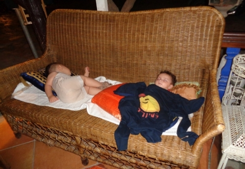 Young Boys Resting After Their Long Journey