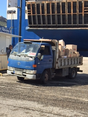 A UNHCR Truck Delivering Some Basic Supplies