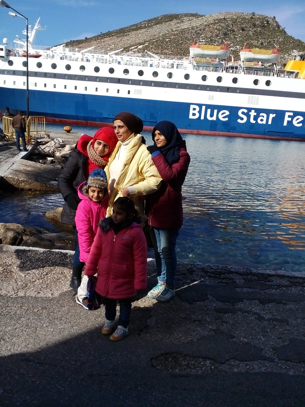 January 2016 - Family from Abu Kamal waiting for the ship to Athens