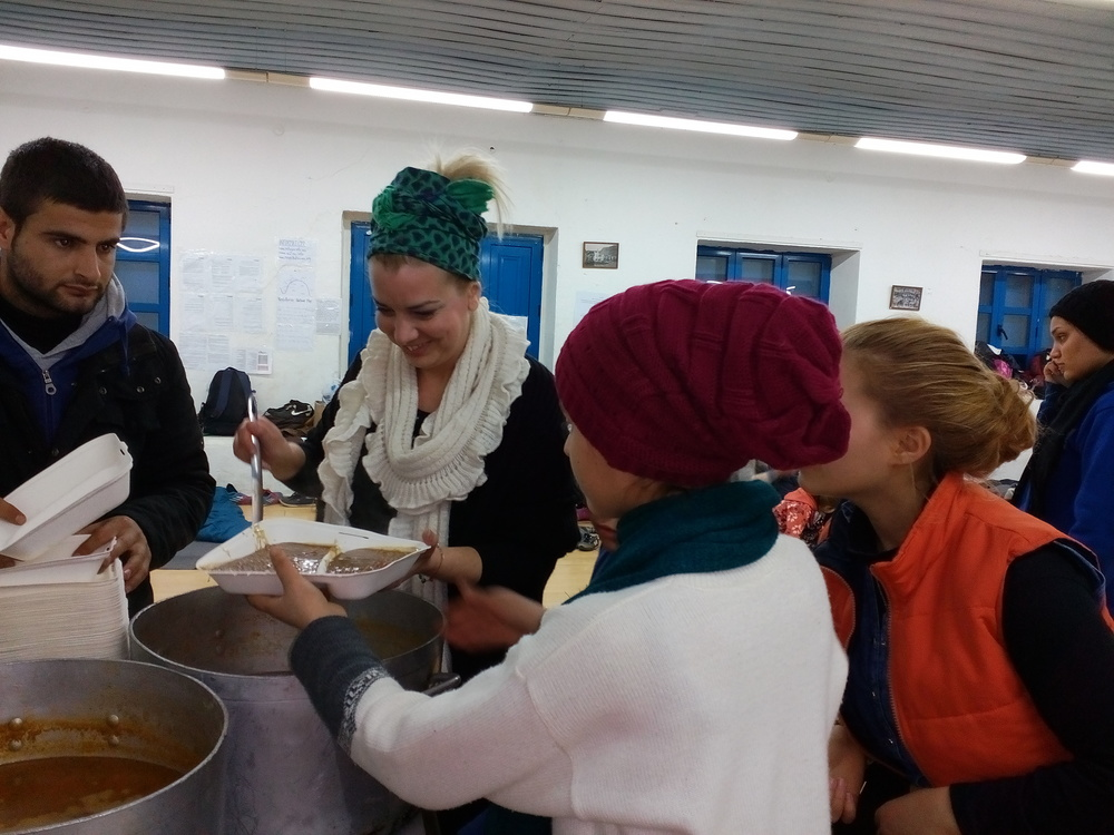 January 2016 - Our volunteer Magda serving the common meal