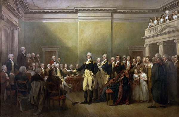George Washington resigning his commission in 1783, later becoming the first president elected in 1799 by unanimous agreement.