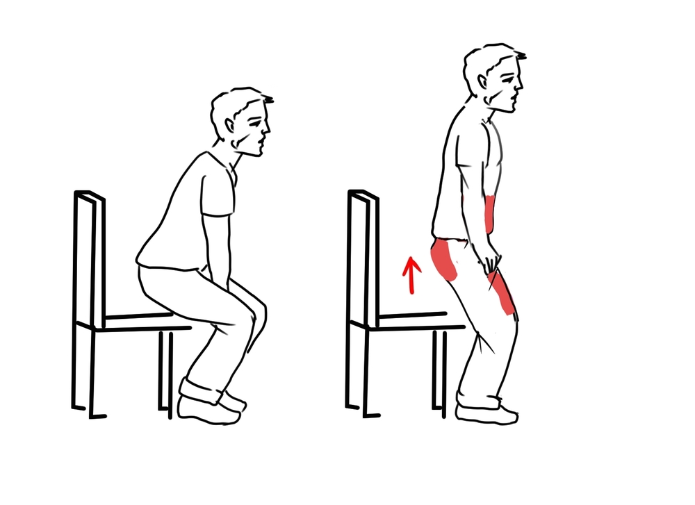 Stand up while keeping your spine as vertical as possible. Use your abs, buttocks and thighs instead of your hands and back.