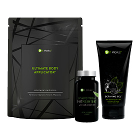 You can have your cake and eat it too when you add Advanced Formula Fat Fighter with Carb Inhibitors to your Ultimate Makeover regimen. The Skinny Pack has all the tightening, firming, and defining of the Ultimate Body Applicator and Defining Gel, plus the fat and carb fighting powers of Advanced Formula Fat Fighter
