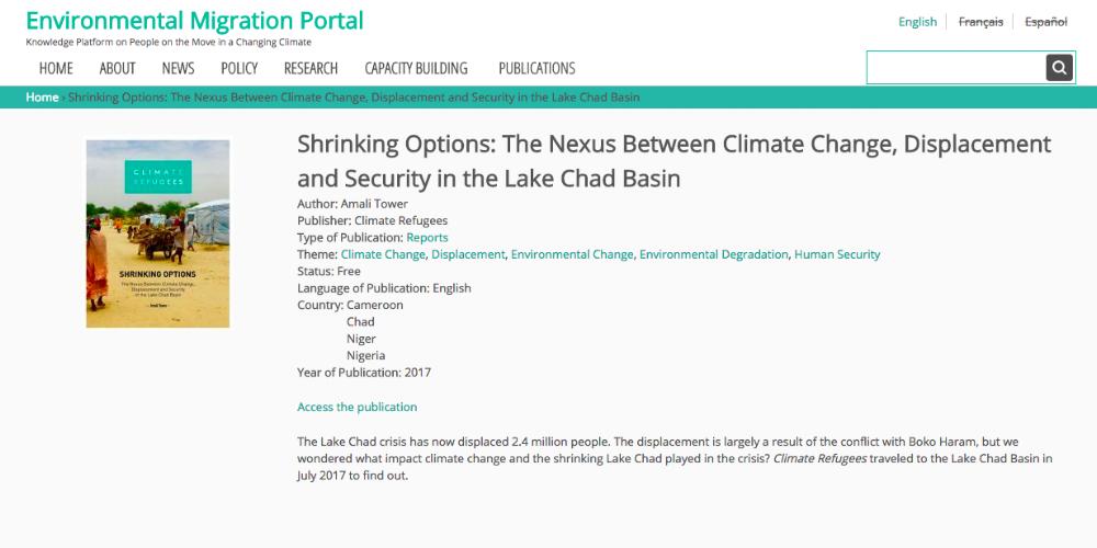 RE-PUBLICATION —International Organization for Migration (IOM), Environmental Migration Portal -