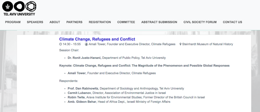 CLIMATE REFUGEES keynote speaker at Innovations in Conflict Resolution and Mediation Conference - November 7-9, 2018